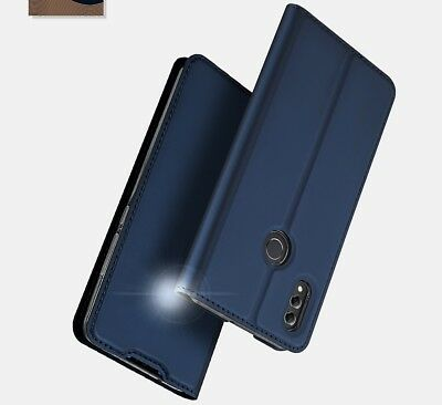Huawei Honor 8X Phone Case PU Leather Flip Cover+Clear Silicone Bumper Holder Uk