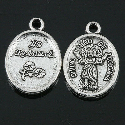 12pcs tibetan silver color 2sided Chinese good-luck doll design charms  H1485