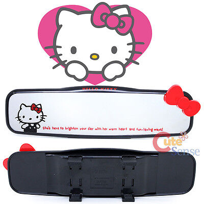 Sanrio Hello Kitty Rearview Mirror Auto Accesories - Black Red Bow  Fit Any