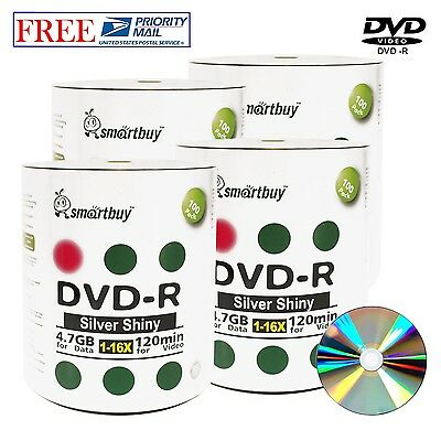 400 Pack Smartbuy DVD-R DVDR Shiny Silver Top 16X 4.7GB Data Recordable Disc