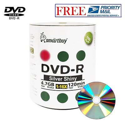 100 Pack Smartbuy Blank DVD-R 16X 4.7GB 120M Shiny Silver Top Recordable Disc