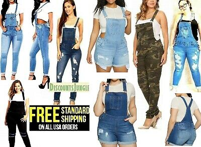 baedd78f2f9 WOMENS Juniors PLUS BLUE Denim JEANS Overall Distressed Stretch Skinny  Jumper