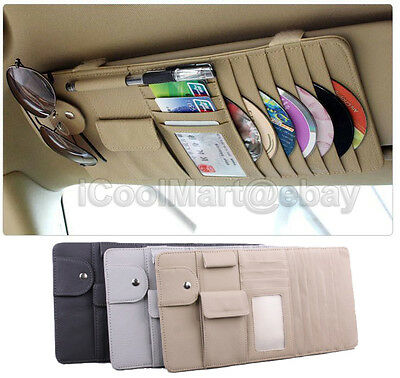 Car Sun Visor Cover CD/DVD Card Storage Organizer Holder Case Glasses Pen Clip