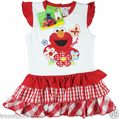 new Girls Elmo sesame street 3 layer checked dress kids clothing - size 1 2 3 4