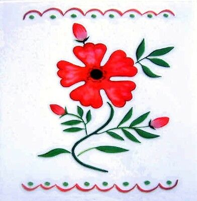 Red Flower Rub On Permanent Transfer Decal Tile Glass Plastic DT40