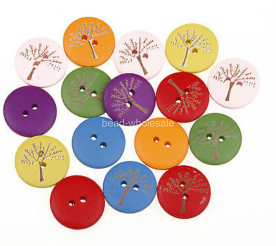 Wholesale HQ100pcs Mixed 2 Holes Wood Painting Tree Sewing Buttons 20mm Dia.