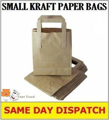 "100 SMALL BROWN KRAFT PAPER CARRIER BAGS SOS 7x3.5x8.5"" TAKEAWAY FOOD PARTIES"