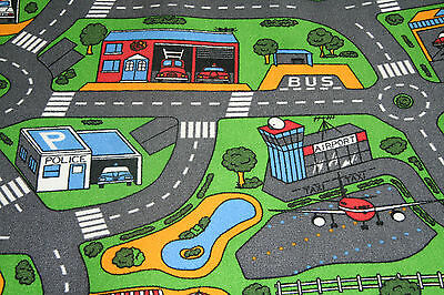 Childrens Bedroom Road Map Carpet 3mt Wide x Any Size Roads Airport Police Fire