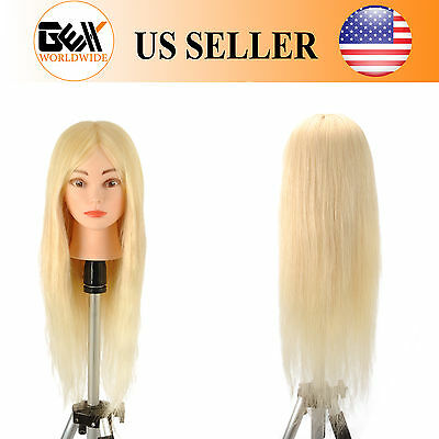 "22"" 100% Human Hair Cosmetology Training Practice Mannequin Manikin Head Blonde"