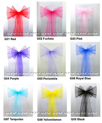 100PCS Organza Chair Cover Sash Bow Wedding Anniversary Party Decoration Bows