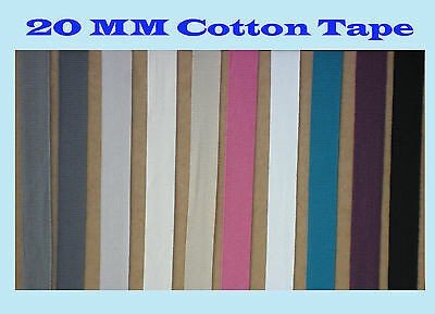 20mm Gross Grain Cotton Ribbon Tape Colour Twill Trim Lace Border Apron Belt