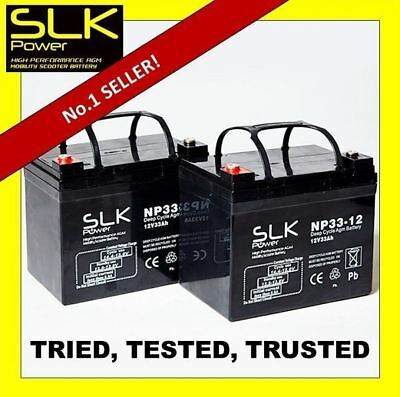 TWO (12volt) 12 24 33ah 36 40ah 50 55 75AH MOBILITY SCOOTER DEEP CYCLE BATTERIES