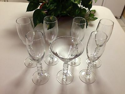 7 TOTAL - Millenium 2000 Fluted Champagne & 1 MARTINI Glass by Cristal d'Arques