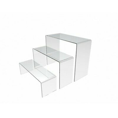 3PK Acrylic Riser Plexiglass Bench Clear Jewelry Stand Cosmetic Clear Riser