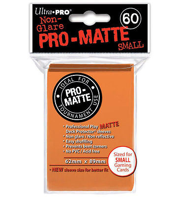 60 ct Small Pro-Matte Orange Deck Protector Card Sleeves | Ultra Pro Yugioh +