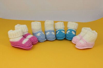 Printed Instructions-Premature,tiny New Baby Sock &shoe Booties Knitting Pattern