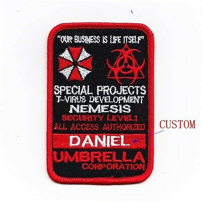 Custom name tapes Resident Evil Umbrella Corporation Badges Velcro Patch B1987