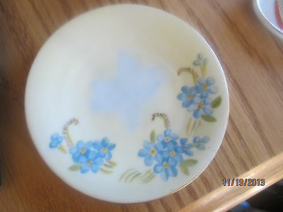 "ANTIQUE F.L. POND SMALL PLATE SAUCER BLUE PANSIES PRETTY 5"" PRIMITIVE"