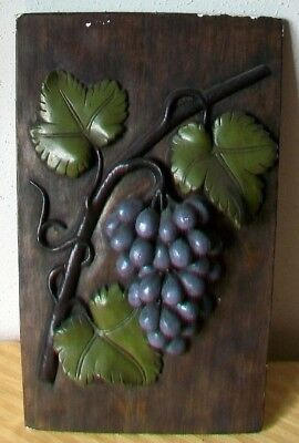 "Vintage Chalkware Grape Fruit 3D Wall Plaque 17"" x 10"" x 1"""