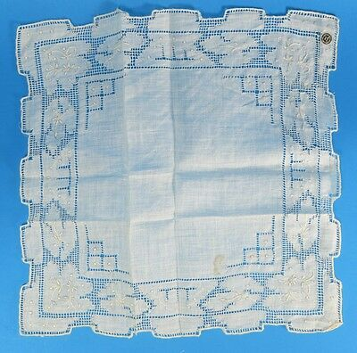 Antique Wedding Hankie Pulled Thread Embroidery Lace Off White Linen Unused