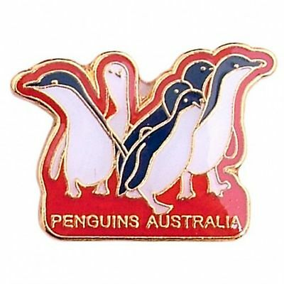 Australian Souvenir Enamel Australia Penguins Hat Pin Lapel Badge Gold Plate