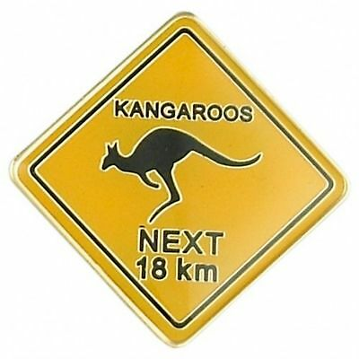 Australian Souvenir Enamel Kangaroo Road Sign Hat Pin Lapel Badge Gold Plated