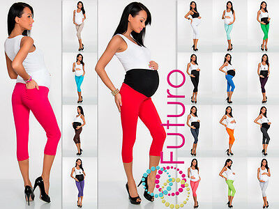 3/4 LENGHT Maternity Leggings Pants With Pockets High Waist Sizes 8 - 22 LCKP