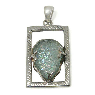 Sterling Silver Pendant w// 2,000 Year Old Antique Roman Glass BTS-NP3080//RG