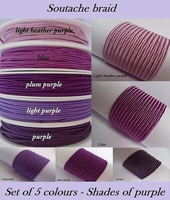 Soutache Braid Cord 5 colours x 1, 2, 5 metres Shades of purple 100% viscose 3mm