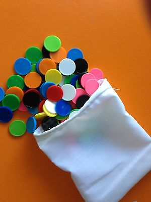 100pk Coloured Maths Counters  Assorted Colours in Handy Drawstring Bag