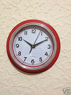 Quartz Retro Round Wall Clock Kitchen Clock Kids Room Clock -Red Black Cream-