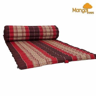 Jumbo Size 100% Kapok Thai Roll Up Mat Fold Out Mattress Cushion Day Bed Red