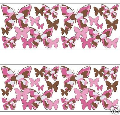 Pink brown camo butterfly wallpaper border wall decals baby girl
