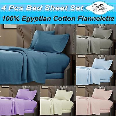 New QUEEN Or KING Size EGYPTIAN Cotton FLANNELETTE / FLANNEL Bed Sheet Set