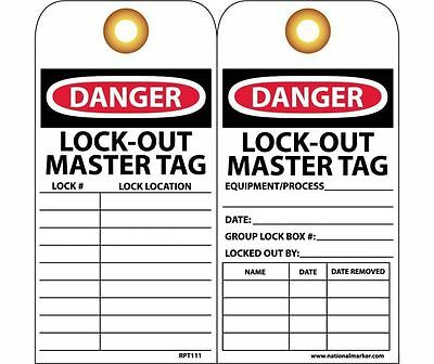 "NMC RPT111G LockOut Safety Tag Danger LOTO Master Tag 6"" X 3"" Vinyl (25PK)"