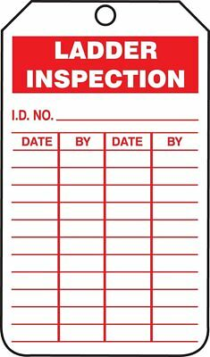 "NMC RPT168G ""LADDER INSPECTION SAFETY TAG"" 6""X 3"" Vinyl with Grommet (25PK)"