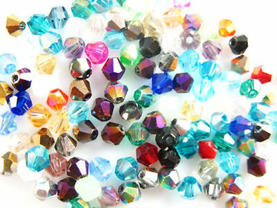 Bulk 100Pcs 6mm Faceted Glass Crystal Loose Bead Spacer Bicone Finding 60 Colors