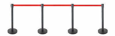 4x Retractable Queue Crowd Barriers Crowd Control (Black Pole)