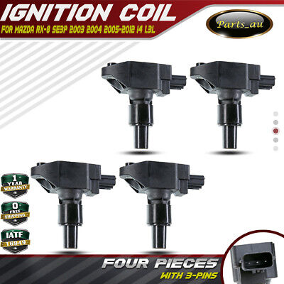 Set of 4pcs for Mazda RX-8 RX8 SE3P 03-12 Ignition Coils 4 Cyl 1.3L 13B