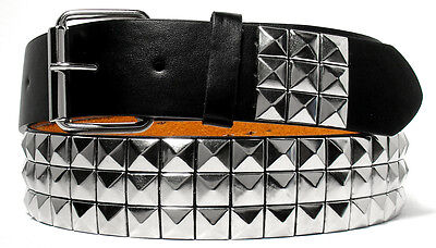 Silver Metal Studs Black Leather Belt Free Removable Belt Buckle S M L Xl