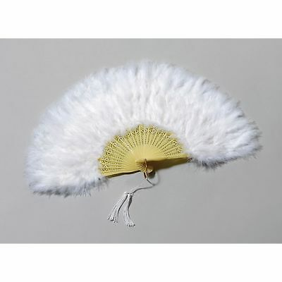 WHITE FEATHER BURLESQUE STYLE FAN Womens Ladies Fancy Dress