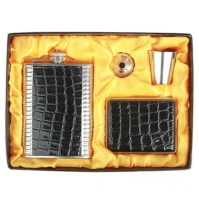 9OZ Black Leather Stainless Steel Flask Gift Set W Cigarette Case Wedding Party