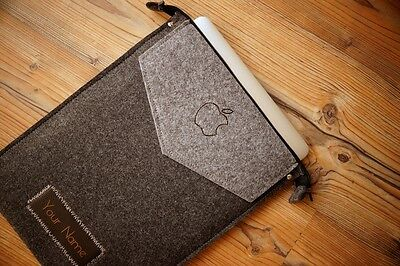 """MacBook Pro 13"""" Retina Felt Sleeve Case Cover Bag - ZIP with your LEATHER NAME"""
