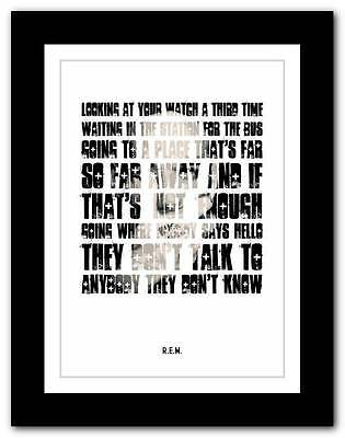 R.E.M.- Don't Go Back To  Rockville ❤ song lyrics typography poster art print