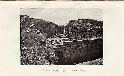 Antique print :Sicily / ditch / Fortress Euryalus,Syracuse / stampa 1922