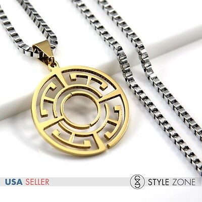 Unisex Stainless Steel Hollow Round Dangle Pendant Gold Silver Tone Necklace 12G