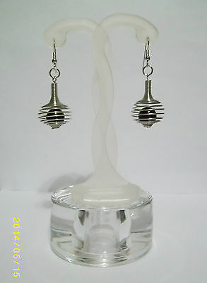 Silver Tone Spring Coil Pierced Earrings with Black Bead Centre Retro Dangly