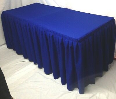 4' ft. Fitted Polyester Double Pleated Table Skirt Cover w/Top Topper Royal Blue