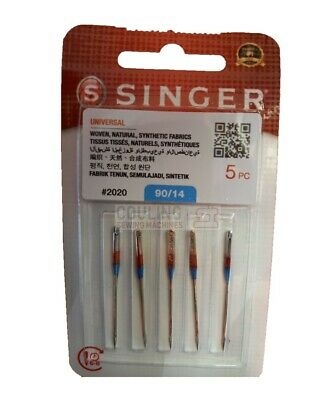 GENUINE SINGER SEWING MACHINE NEEDLES 90/14 medium woven Fabrics 2020 x 5