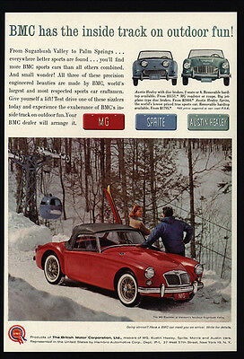 1961 MG ROADSTER Convertible & AUSTIN HEALEY Sprite Sports Car VINTAGE AD